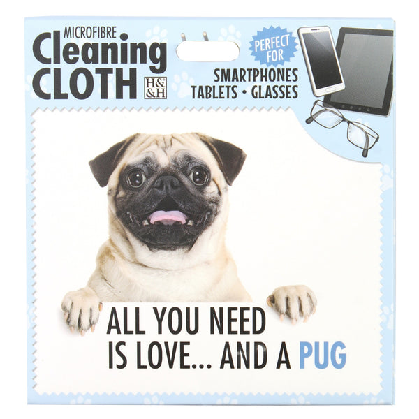 "Microfibre Cleaning Cloth with Pug Dog print and saying ""All you need is love? and a Pug"""