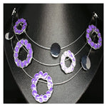 Multi strand flower charm necklace Purple