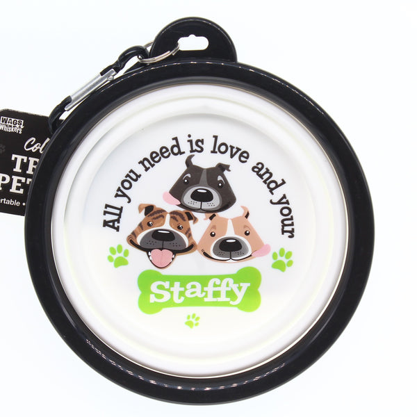 STAFFY COLLAPSIBLE TRAVEL DOG BOWL GIFT