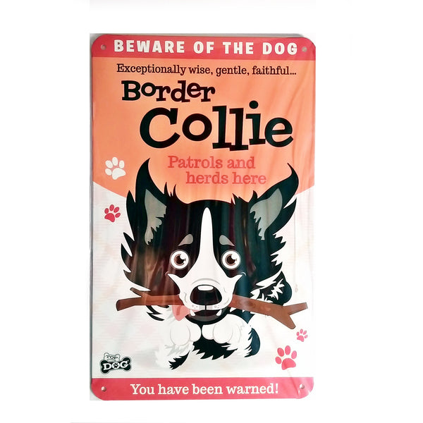 "Wags & Whiskers  Dog Sign/Plaque ""Border Collie"" - Tin Plaque"