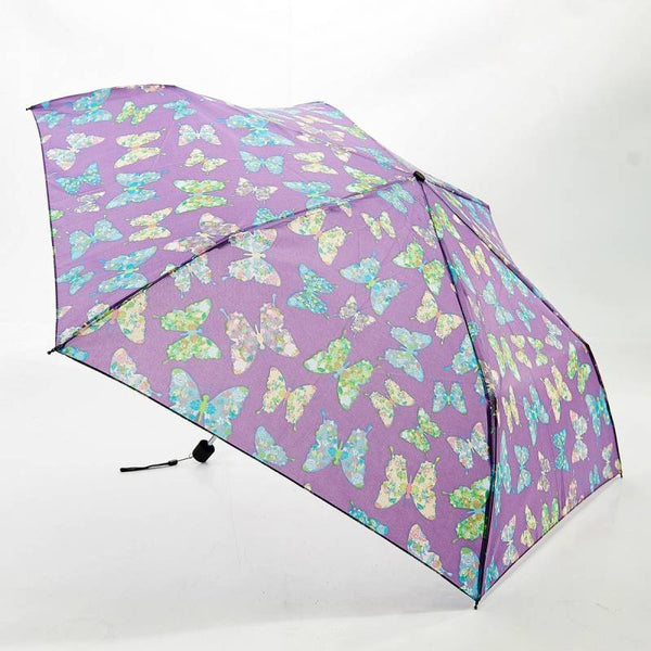 Lilac Butterfly Print Mini Umbrella by Eco Chic