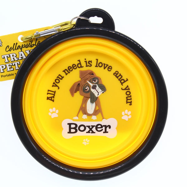 BOXER COLLAPSIBLE TRAVEL DOG BOWL GIFT