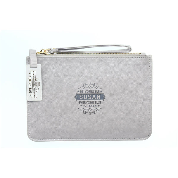 "Clutch Bag With Handle & Embossed Text ""Susan"""