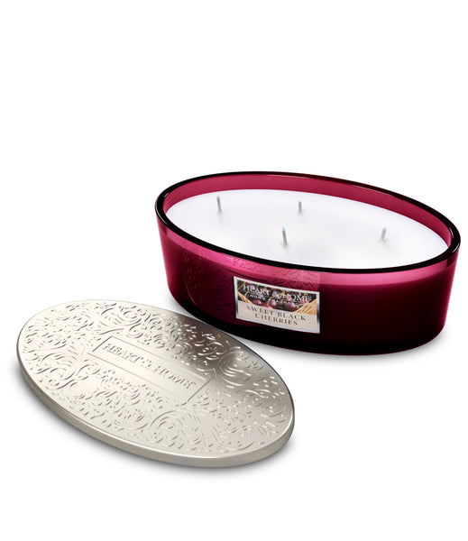 Sweet Black Cherries Fragranced 4 Wick Ellipse Candle from Heart & Home