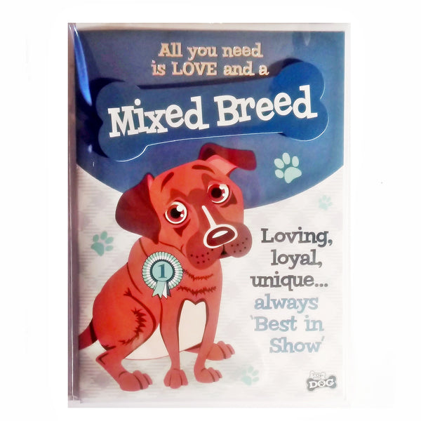 "Wags & Whiskers Dog Greeting Card ""Mixed Breed"" by Paper Island"