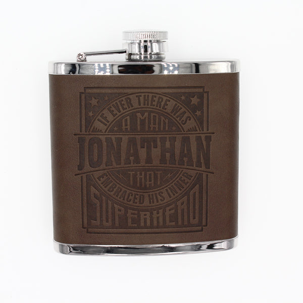"Top Bloke Mens Gift Hip Flask for Him -  Treat for ""Jonathan"""