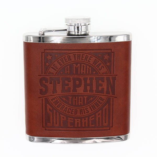 "Top Bloke Mens Gift Hip Flask for Him -  Treat for ""Stephen"""