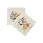 HEN PALS  MARBLE COASTER SET OF 2 BY KATE OF KENSINGTON