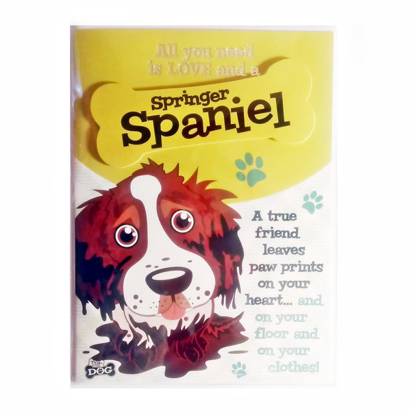 "Wags & Whiskers Dog Greeting Card ""Springer Spaniel Brown/White"" by Paper Island"