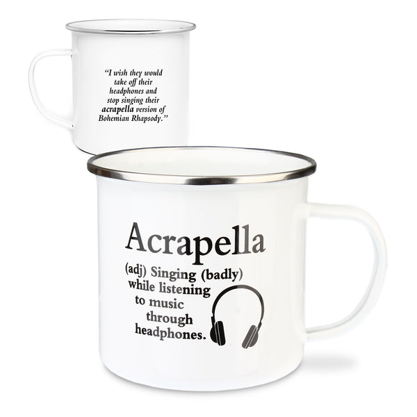 "Urban Words Tin Mug ""Acrapella"" Title and Slang words including Meaning."