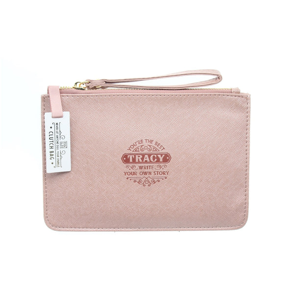 "Clutch Bag With Handle & Embossed Text ""Tracy"""