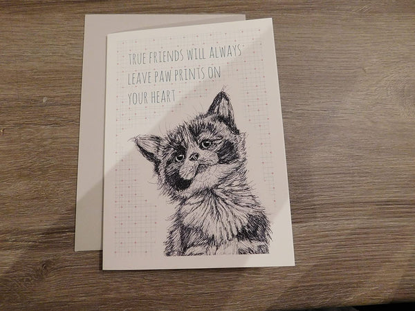 East Of India - Animal greeting card - True friends will always leave paw prints on your heart