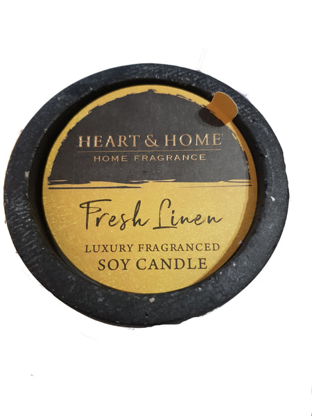 Fresh Linen Luxury Fragranced Soy Candle From Heart & Home Artisan Collection.