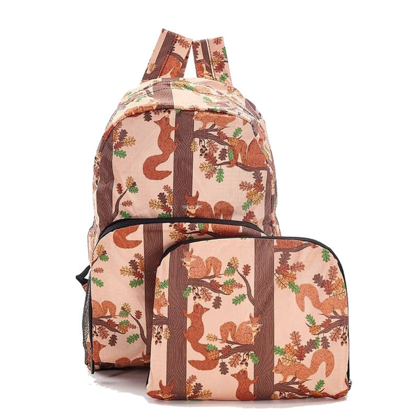 Eco-Chic Khaki Squirrel Print Backpack