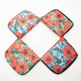 ECO CHIC Foldaway Back Pack/School Bag/Shopping Bag - Made From Recycled Plastic Bottles - Poppies (Blue)
