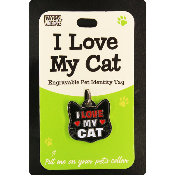 DESIRABLE GIFTS I LOVE MY CAT WAGS & WHISKERS CAT PET TAG I CAN NOT ENGRAVE THIS ITEM