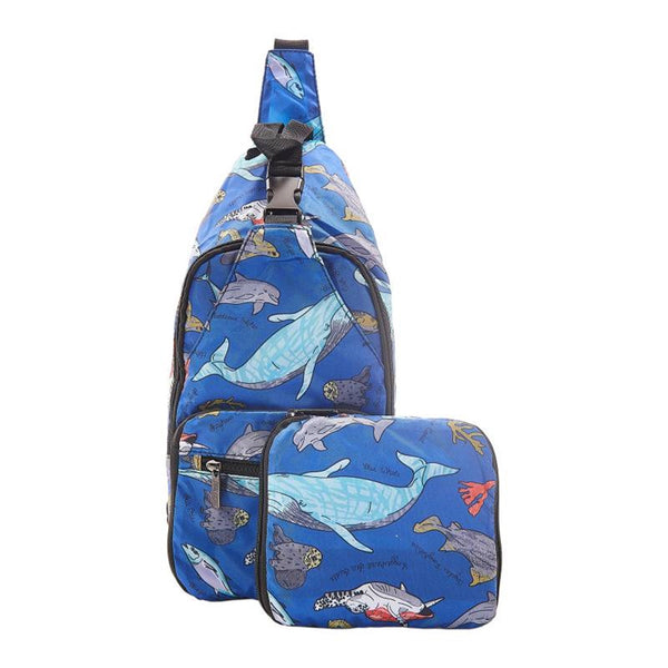 Lightweight Foldable Cross-Body Bag Sea Creatures  by Eco Chic