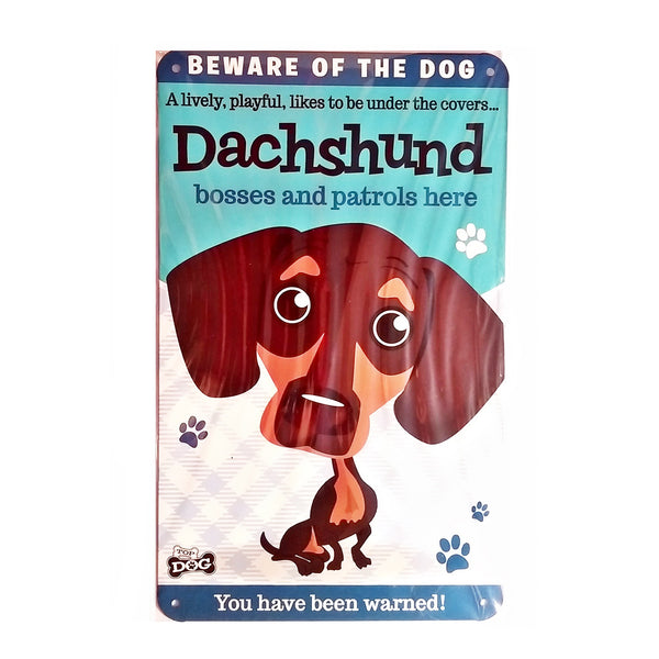 "Wags & Whiskers  Dog Sign/Plaque ""Dachshund"" - Tin Plaque"