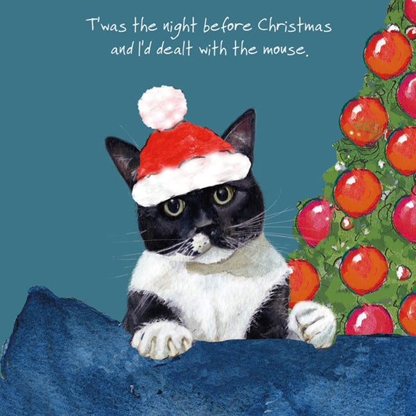 Black and White Cat Christmas Card – Dealt Mouse