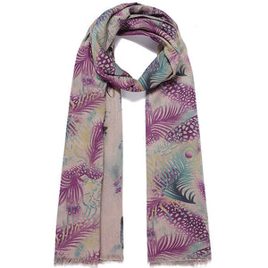 Double sided long scarf butterfly print and a feather design