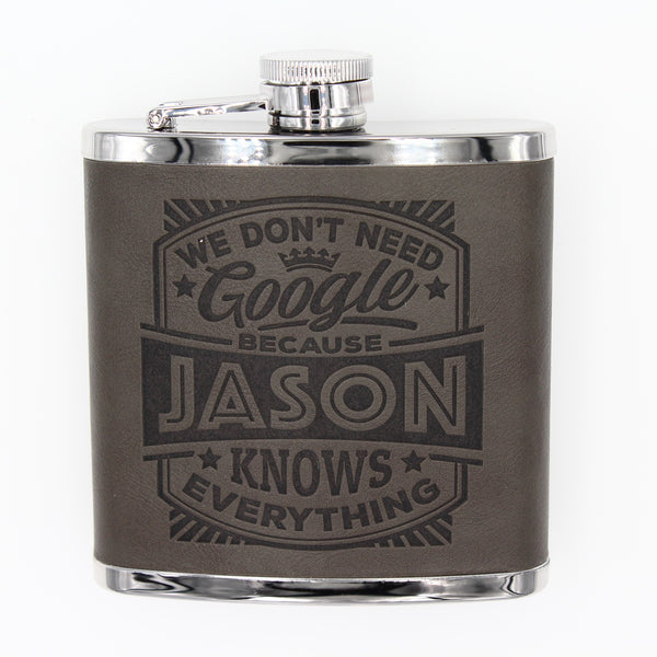 "Top Bloke Mens Gift Hip Flask for Him -  Treat for ""Jason"""