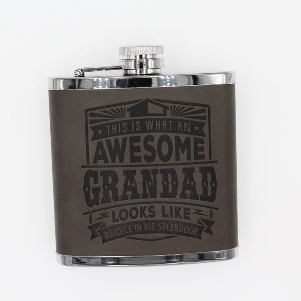 "Top Bloke Mens Gift Hip Flask for Him -  Treat for ""Grandad"""
