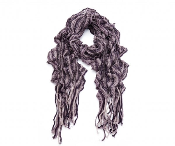 Knitted frill stripe scarf (Purple)