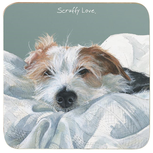 Wire Hair Jack Russell Dog Scruffy Love Coaster
