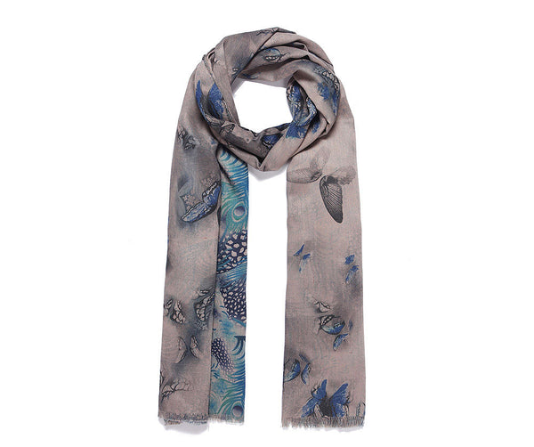 Ladies Double sided long scarf butterfly print and a feather design