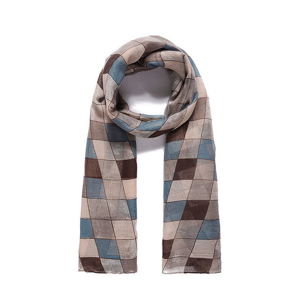 Ladies Classic Brown check print scarf