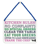 Hang Ups Kitchen Rules! - Rolled Tin Plaque with Coloured Cord