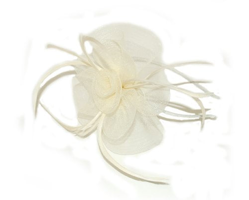 crysta innovations REF 4319 (ivory) Centre net flower and feather fascinator on a narrow aliceband.