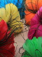 brightly coloured dome feather fasciantor on an aliceband. in pink/yellow/orange/green/red and turq.[Turquoise]