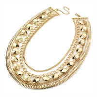 Ladies Womens Girls Costume Fashion Jewellery Five row gold colour chain necklace.