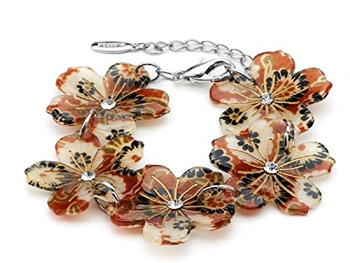 Acrylic Flower Bracelet (Brown)