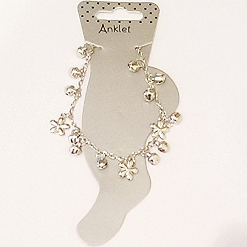 Silver coloured anklets in assorted Flower design with bell detail.
