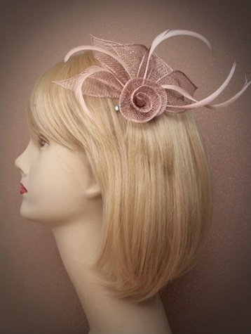 Ivory or Coffee Coiled Flower Fascinator Clip (Coffee)