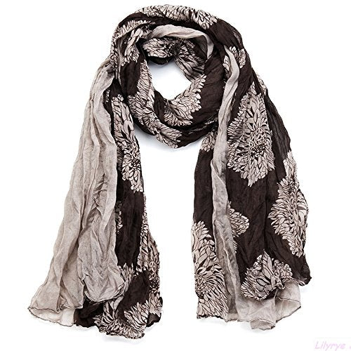 This large flower print scarf is just delightful.