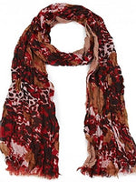 Rose & Mixed Print Three Layer Scarf (Red)