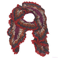 red Crochet Knit Scarf