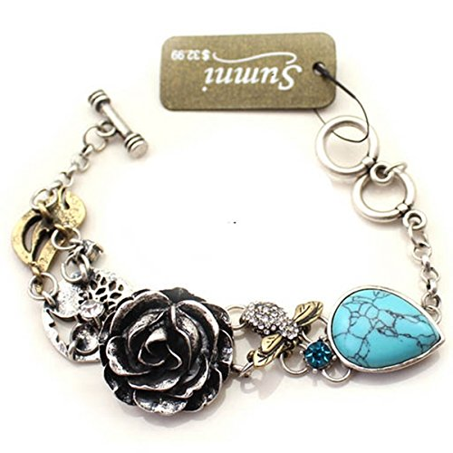 Summi Ancient Silver Tone Flower and Turquoise Vintage Style Bracelet