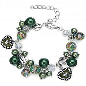 Beaded Heart charm bracelet made of glass beads,acrylic beads and metal charms