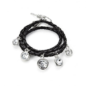 Black Leather Bracelet with Charms wraps 3 times around the wrist with silver and glass charms