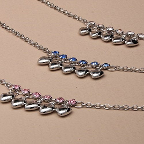 Silver coloured anklets in assorted Flower, Heart and Star designs with bell detail.