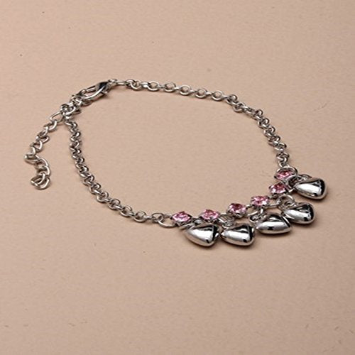 Silver coloured anklet chain with trailing hearts and crystals. Pink Inset