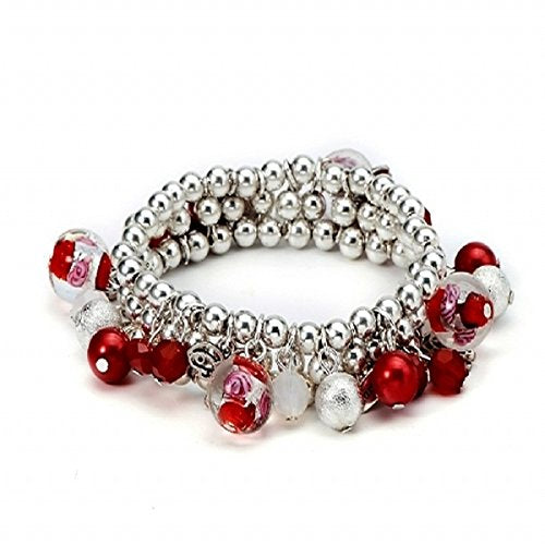 Beaded Bracelet Red 3 Row Stretch Beaded Bracelet