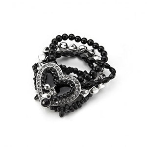 Beaded Heart Bracelet 4 Black &1 Silver beaded elasticated bands with Silver & Black Heart