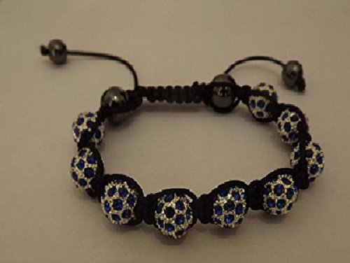 Shamballa Style Bracelet With 9 Crystal Disco Balls - Blue