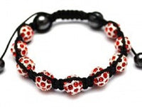 Shamballa Style Bracelet With 9 Crystal Disco Balls - Red