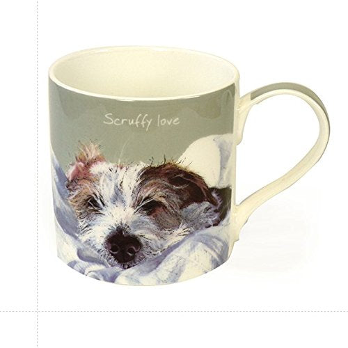 Digs & Manor Scruffy Love Mug and Gift Box, Bone China, Multi-Colour, 9.5 x 13 x 9.5 cm